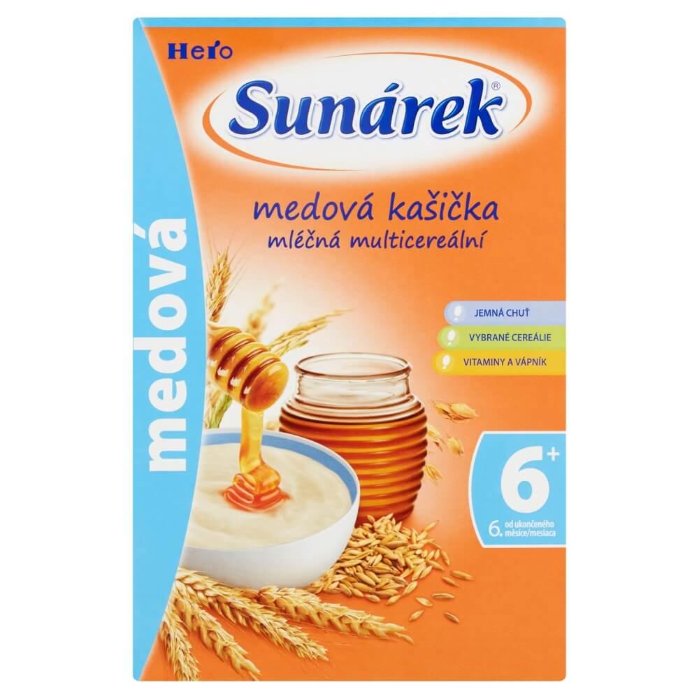SUNÁREK Multicereální mléčná kašička Medová 225 g
