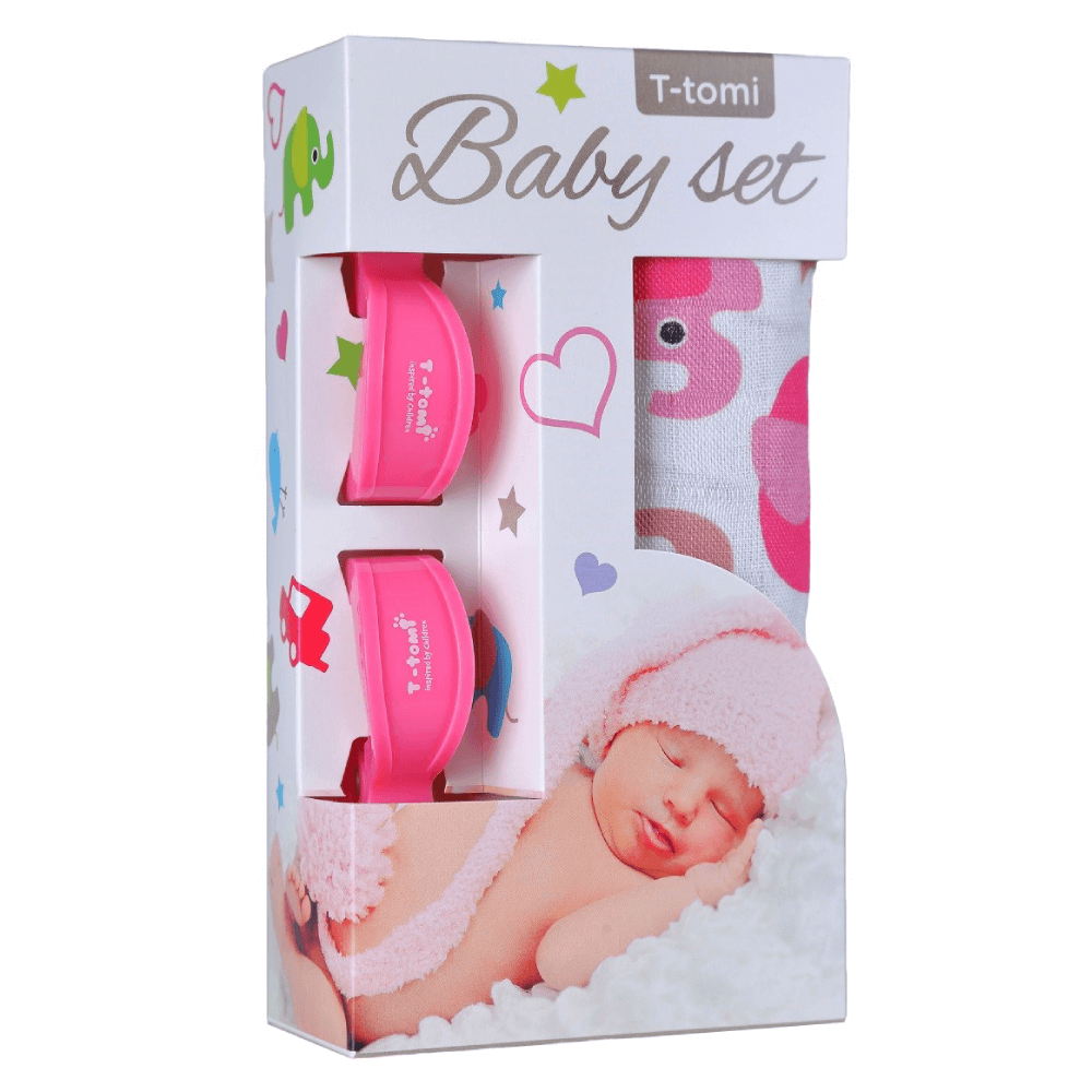 T-TOMI Bambusová BIO osuška Růžoví sloni + Kočárkový kolíček Růžový