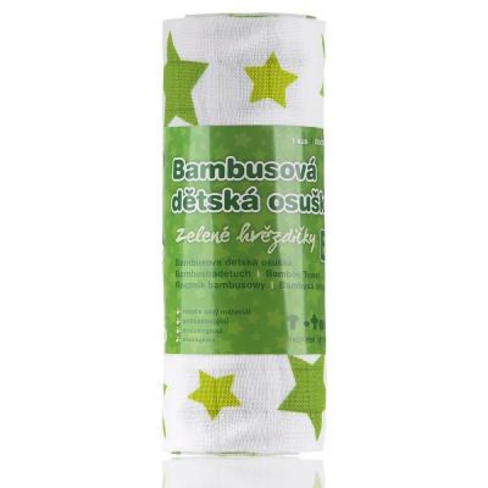 T-TOMI Bambusová osuška zelené hvězdičky 1 kus