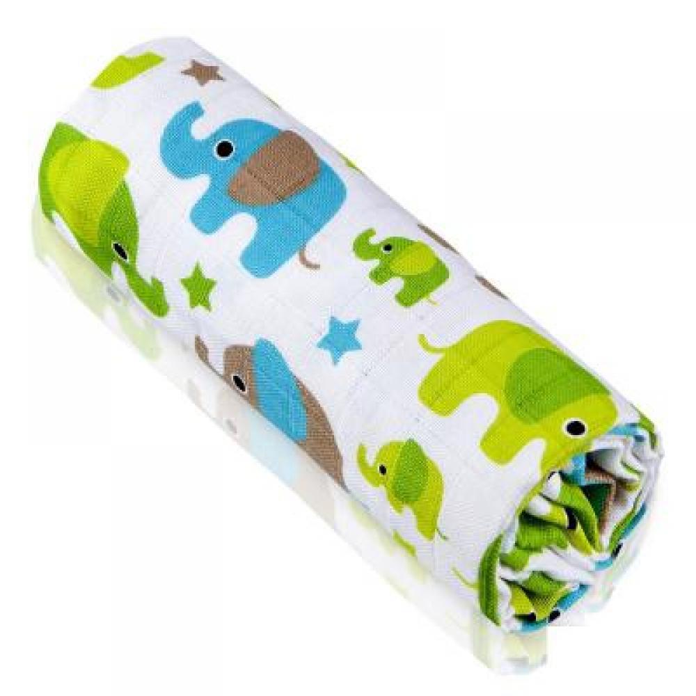 T-TOMI Bambusová osuška zelení sloni 1 kus