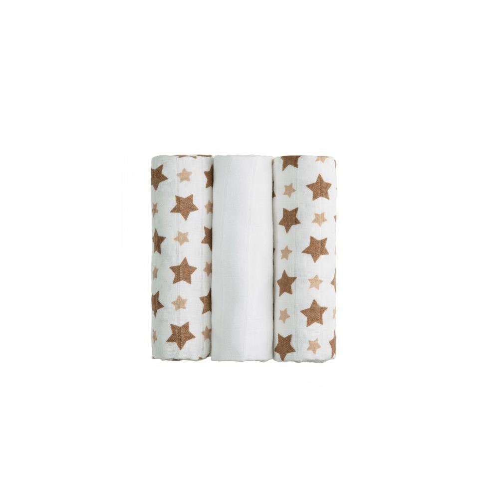 T-TOMI Bambusové BIO pleny Béžové hvězdičky 3 ks