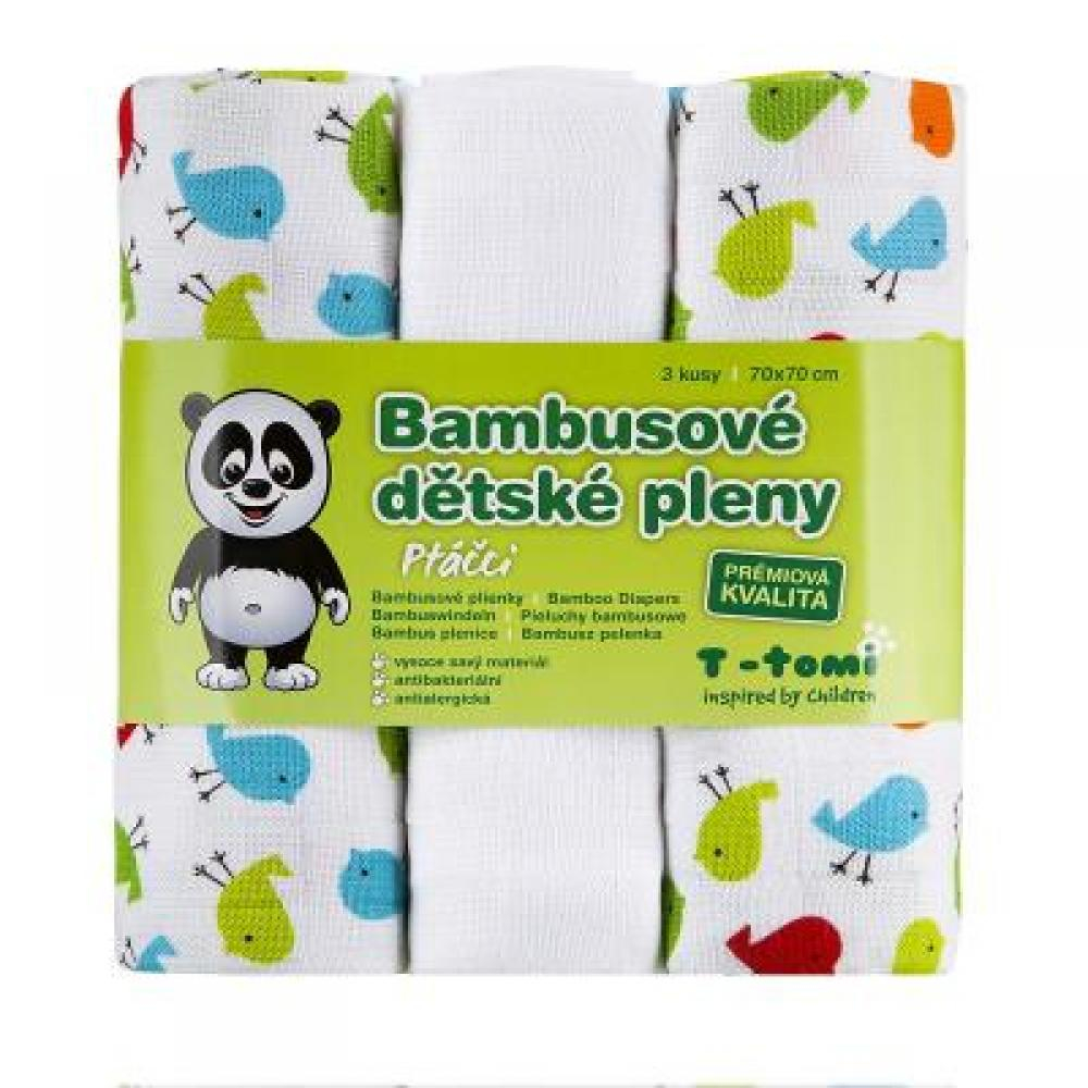 T-TOMI Bambusové pleny ptáčci sada 3 kusů