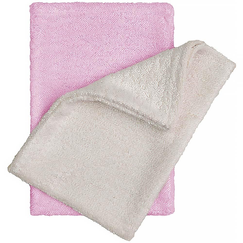 T-TOMI Bambusové žínky - rukavice, natur + růžová