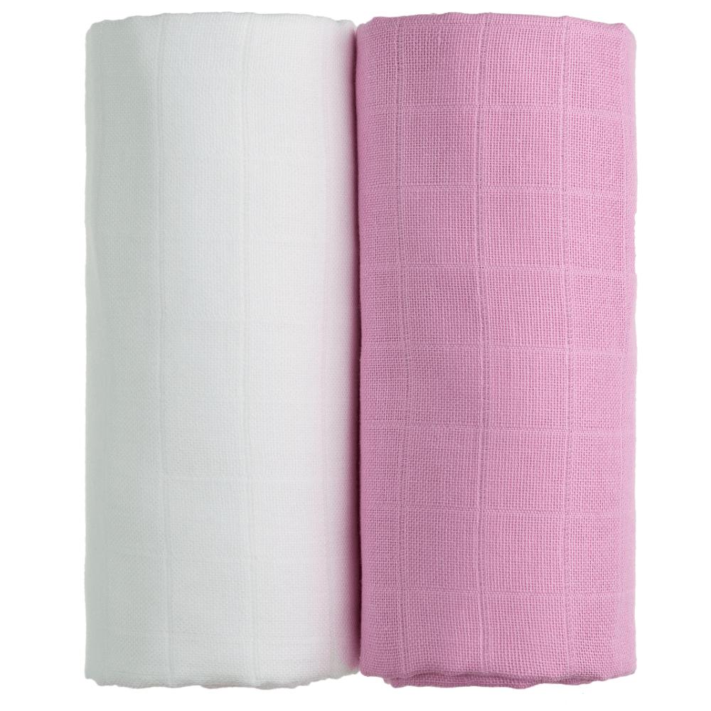 T-TOMI Exclusive Collection Látkové Tetra osušky 2 ks Bílá + růžová