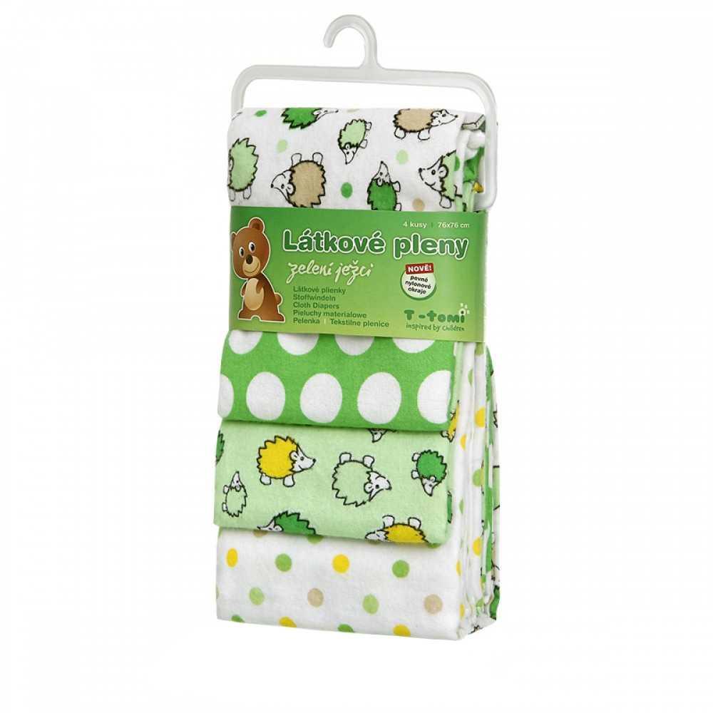T-TOMI Látkové pleny Zelení ježci 4 ks