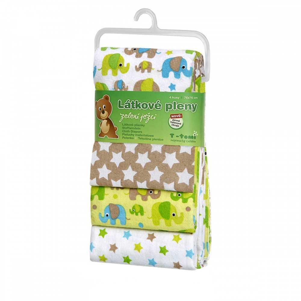 T-TOMI Látkové pleny Zelení sloni 4 ks
