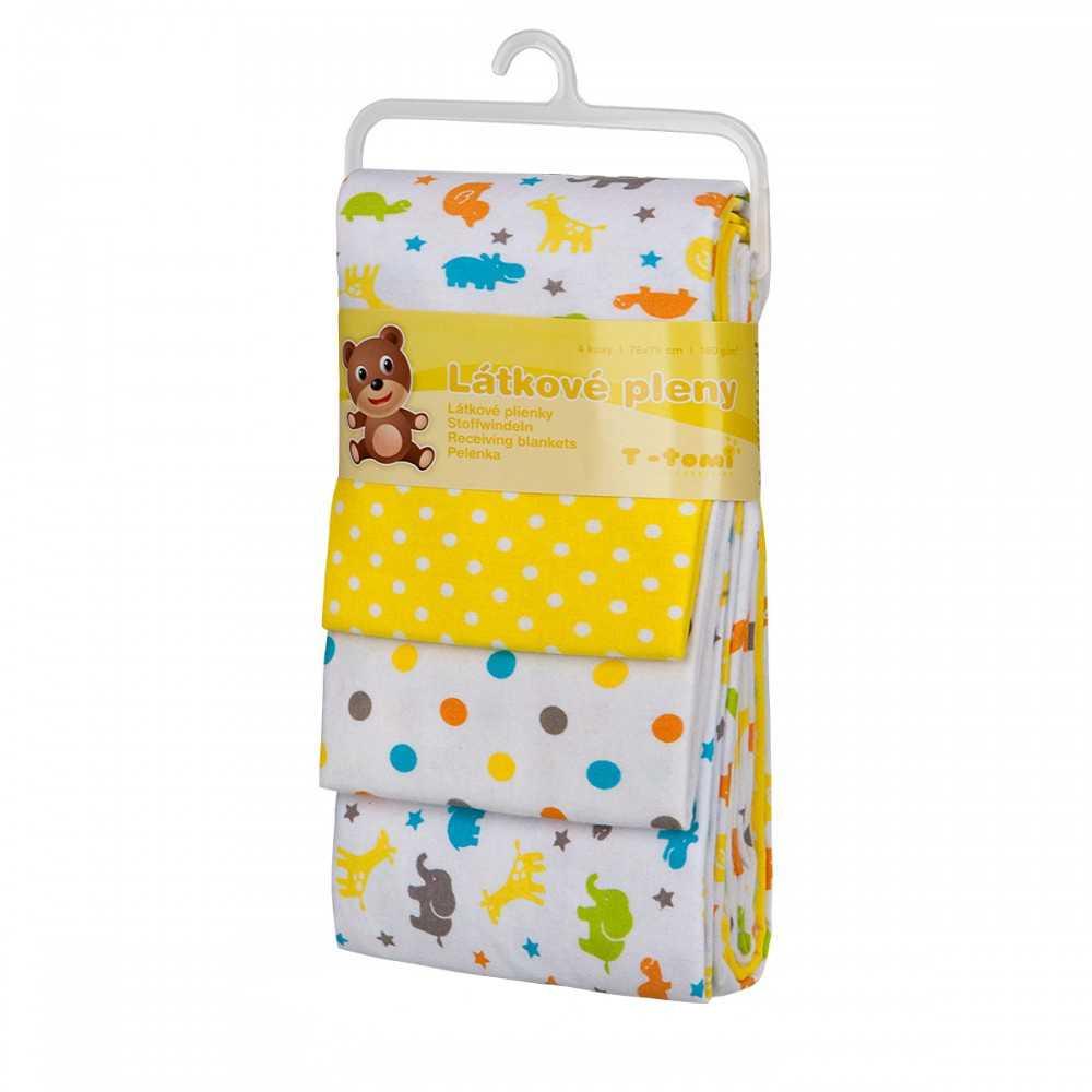 T-TOMI Látkové pleny Žluté žirafy 4 ks