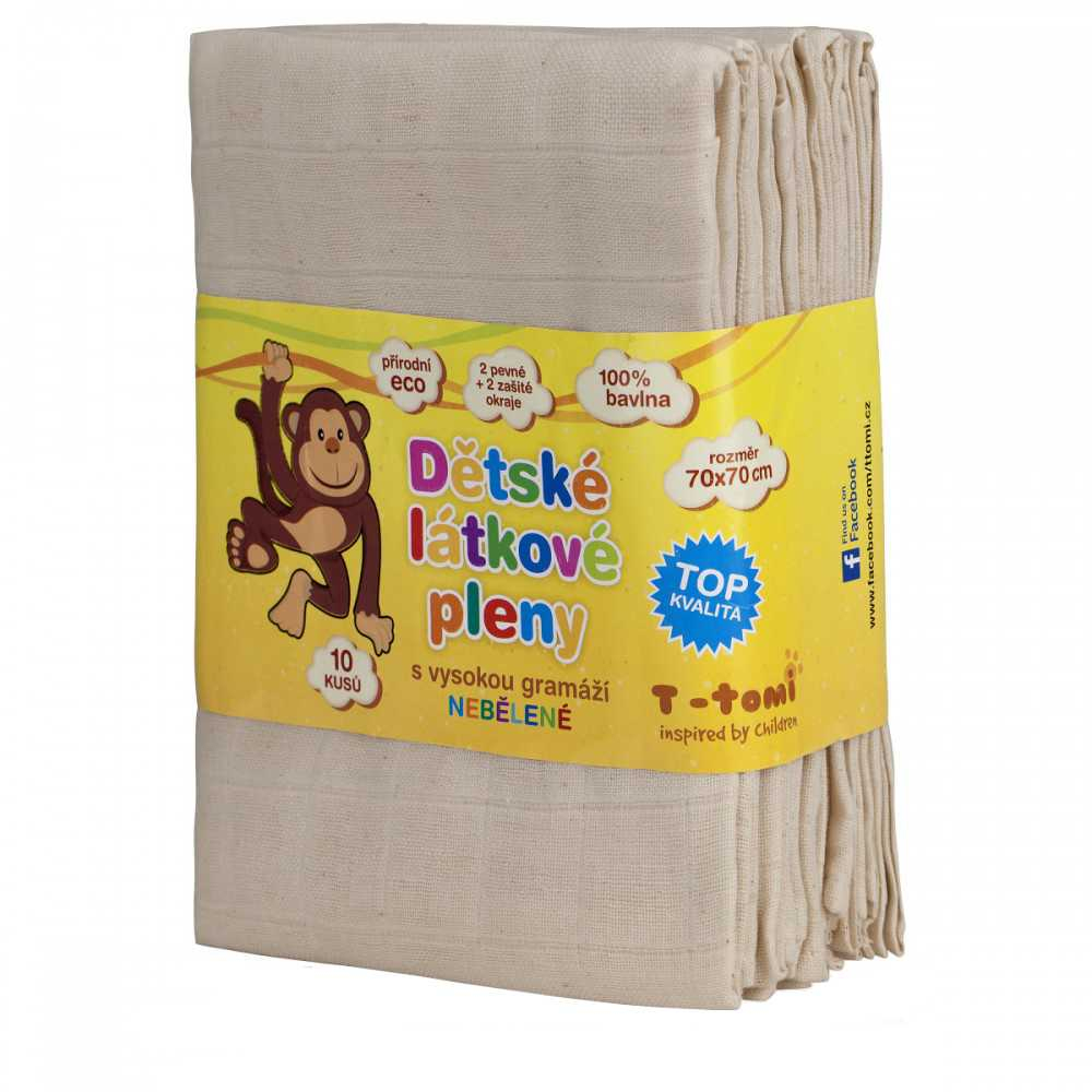 T-tomi Dětské látkové TETRA pleny, nebělené, balení 10 kusů