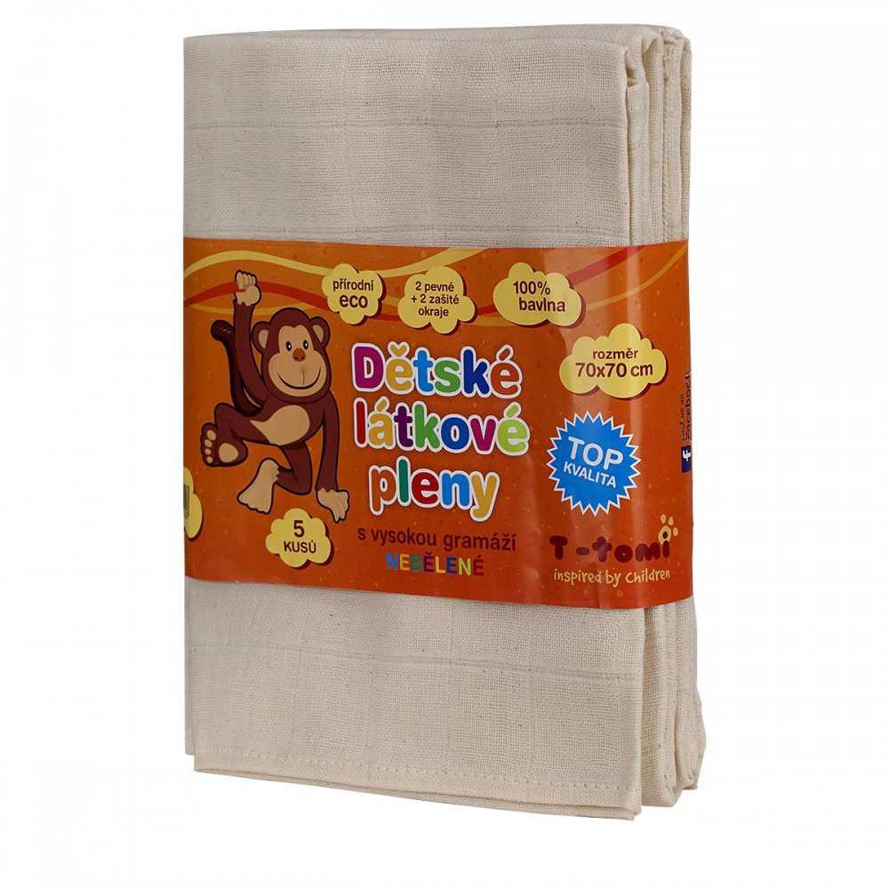T-tomi Dětské látkové TETRA pleny, nebělené, balení 5 kusů