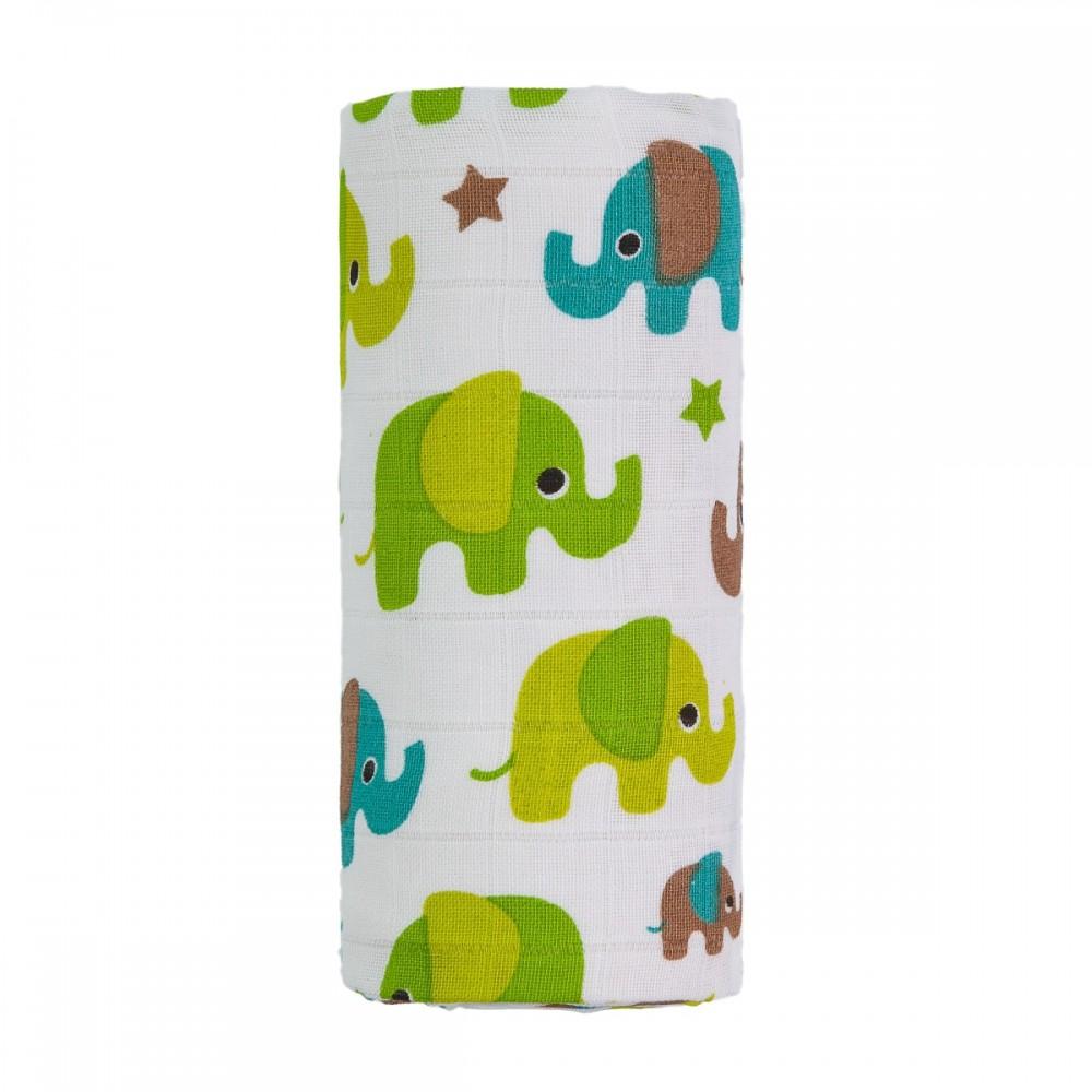 T-TOMI Bio Velká bambusová osuška, zelení sloni