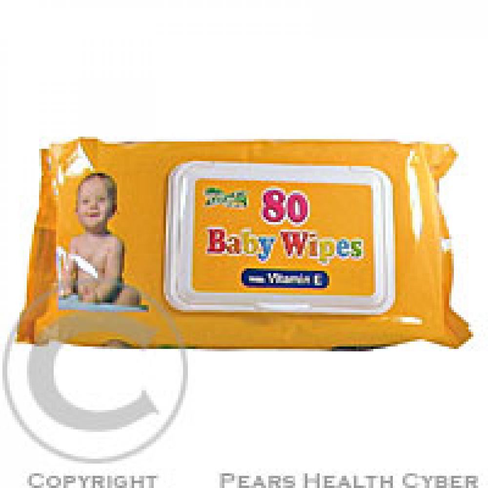Ubrousky dětské hygienické Baby Wipes vit.E 80 ks s distr.