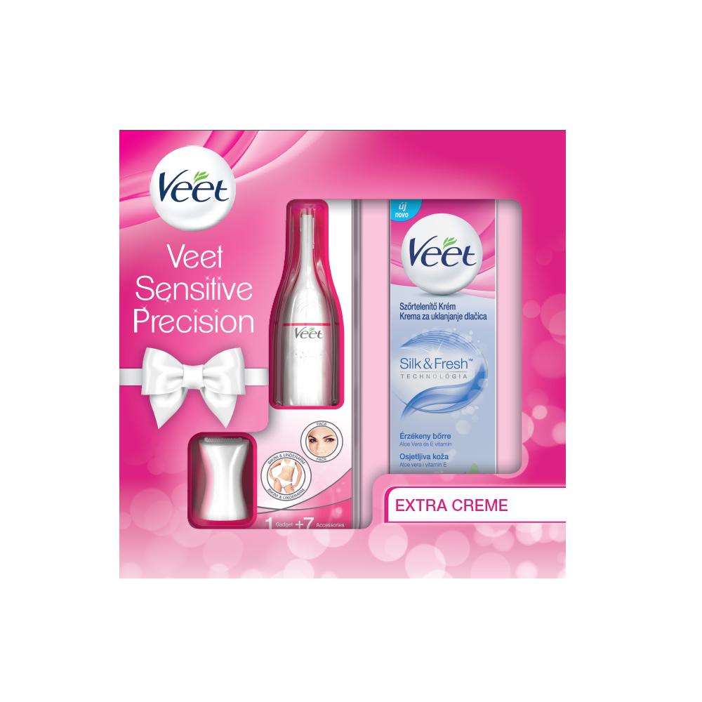 VEET Sensitive Precision Elektrický zastřihovač + Depilační krém pro citlivou pokožku 100 ml