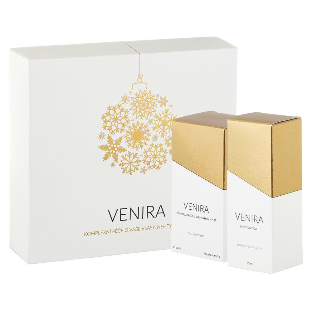 VENIRA dárkový set péče o vlasy nehty a pleť 40 denní kůra 80 tableta a švestkový olej lisovaný za studena 50 ml