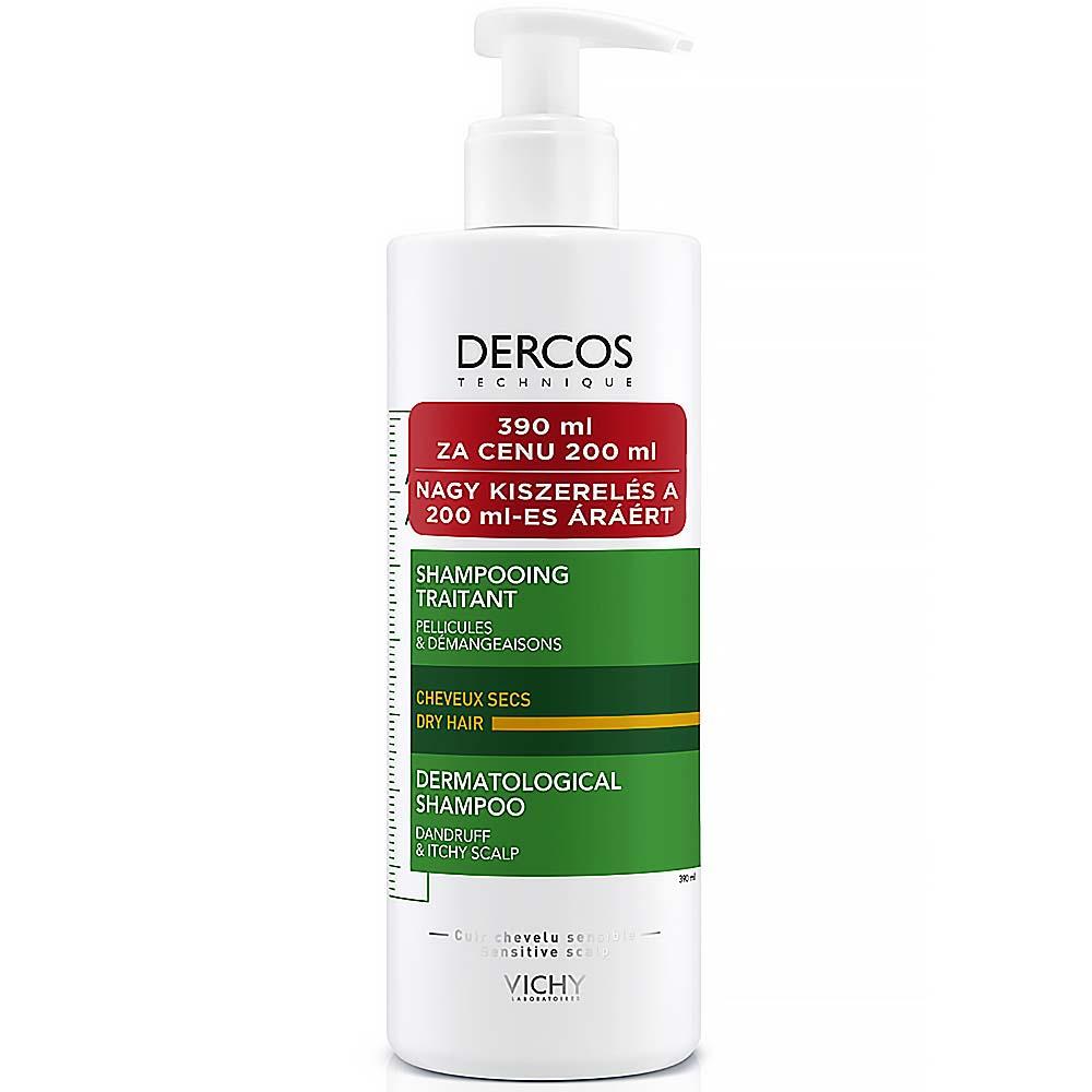 VICHY Dercos Šampon proti lupům na suché vlasy 390 ml