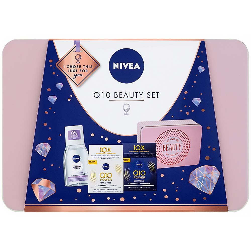 NIVEA Q10 Beauty zklidňující micelární voda + zpevňující denní a noční krém proti vráskám dárková sada