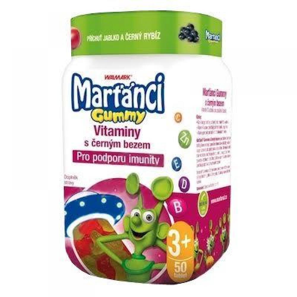 WALMARK Marťánci Gummy Vitaminy s černým bezem 50 kusů