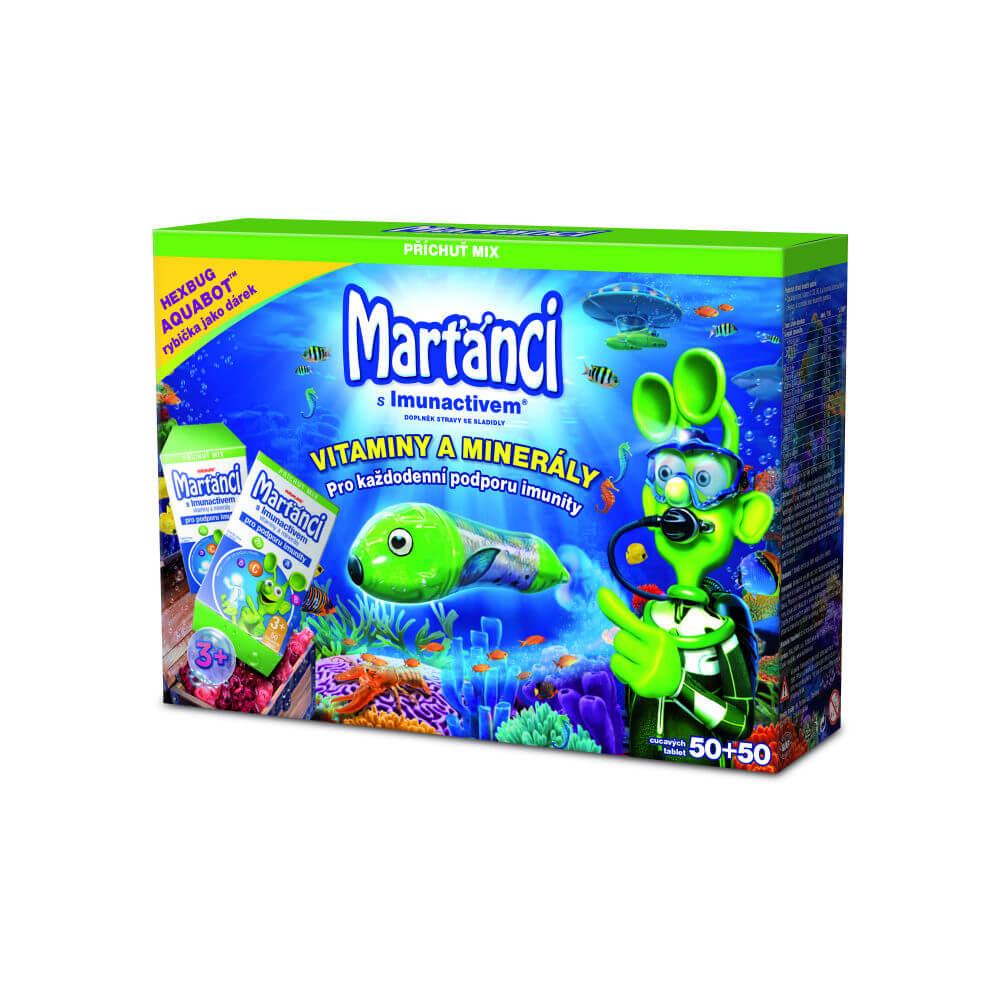 WALMARK Dárkové balení Marťánci s Imunactivem Mix 50+50 cucavých tablet + zdarma Aquabot