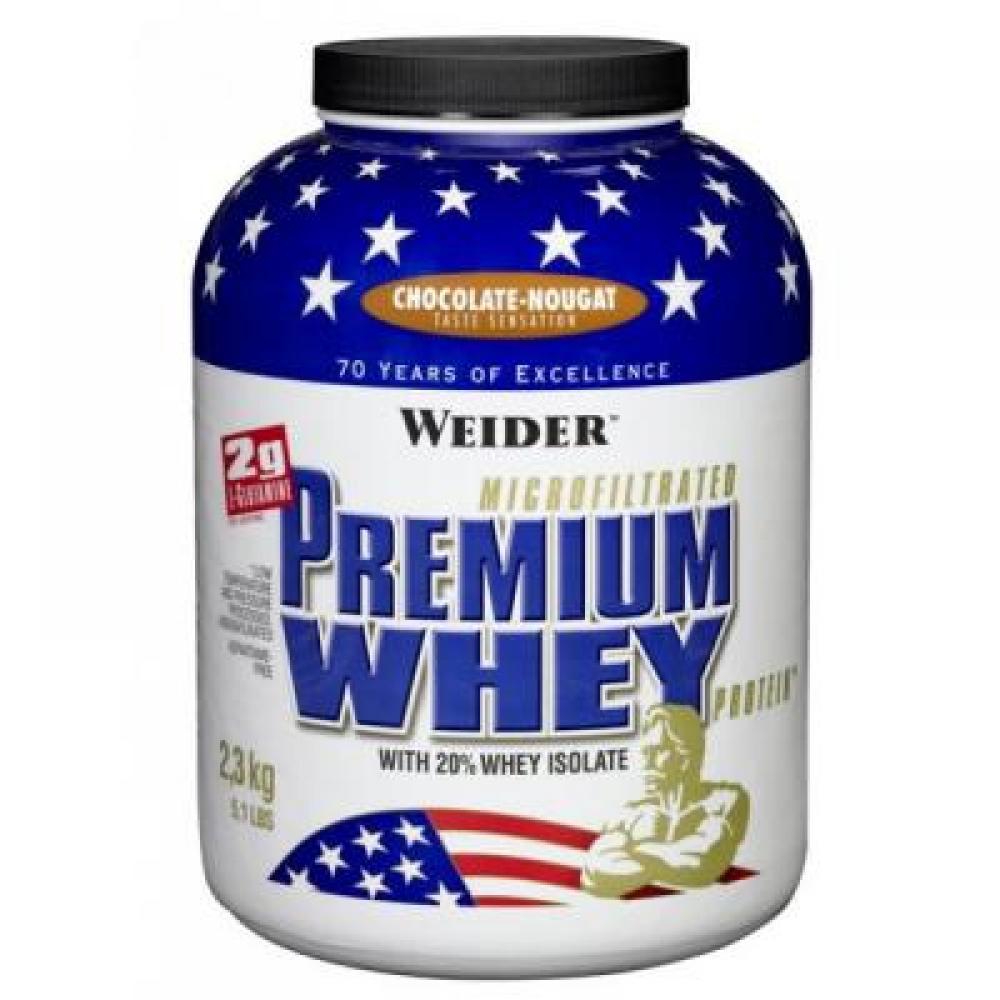 Premium Whey, syrovátkový protein, Weider, 2300 g - Jahoda-Vanilka