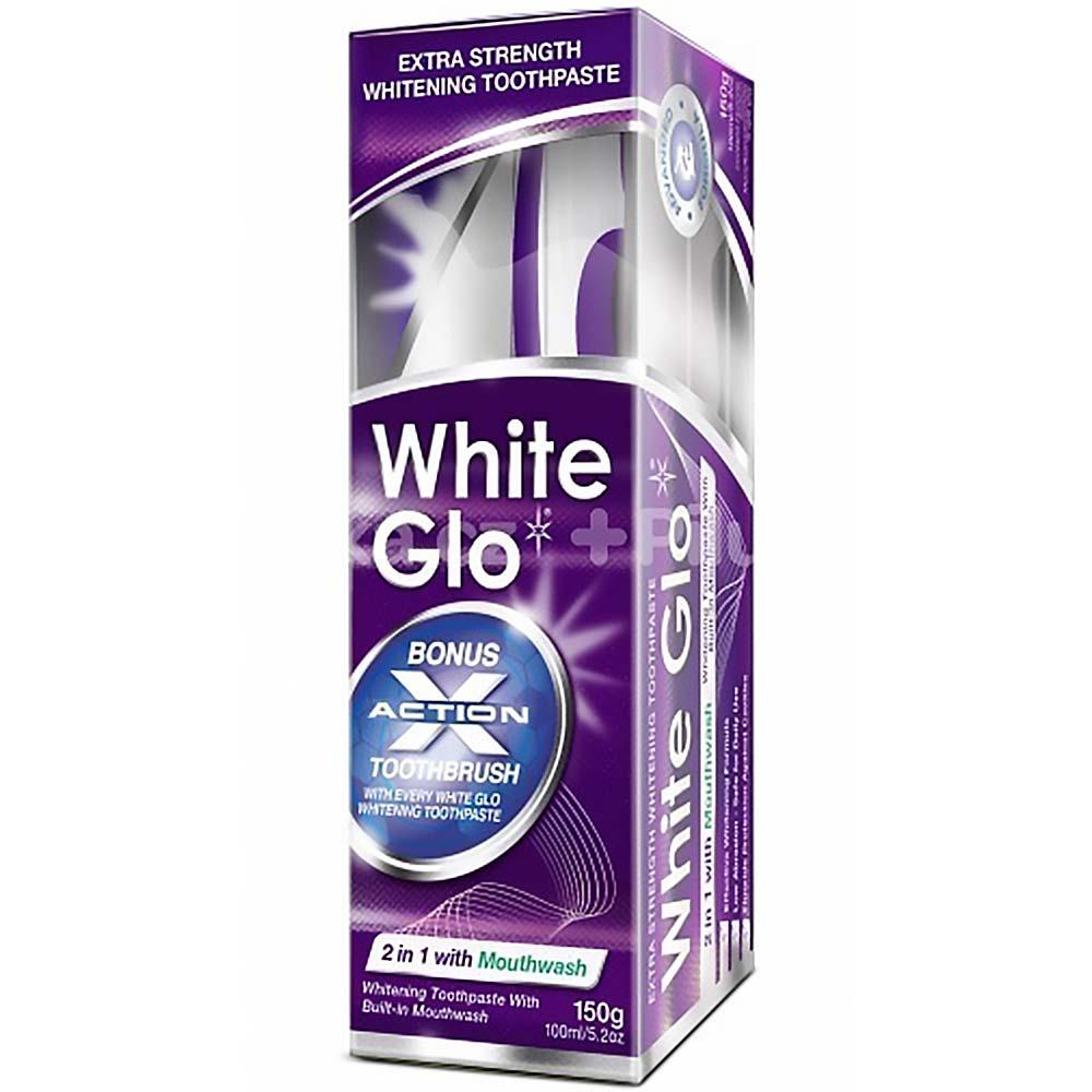 WHITE GLO Profesionální bělicí zubní pasta 150 g plus kartáček na zuby a mezizubní kartáčky